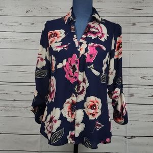 Navy with Vibrant Floral EXPRESS Dress Shi…